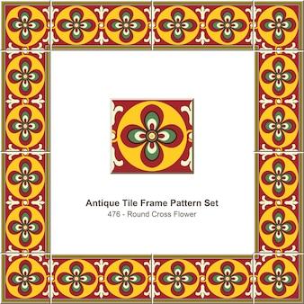 Ensemble de motifs de cadre de tuiles anciennes round cross flower