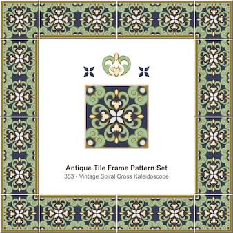 Ensemble de motifs de cadre de tuiles anciennes vintage spiral cross kaleidoscope