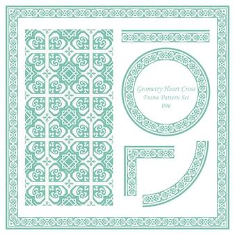 Ensemble de motifs de cadre vintage de géométrie coeur croix