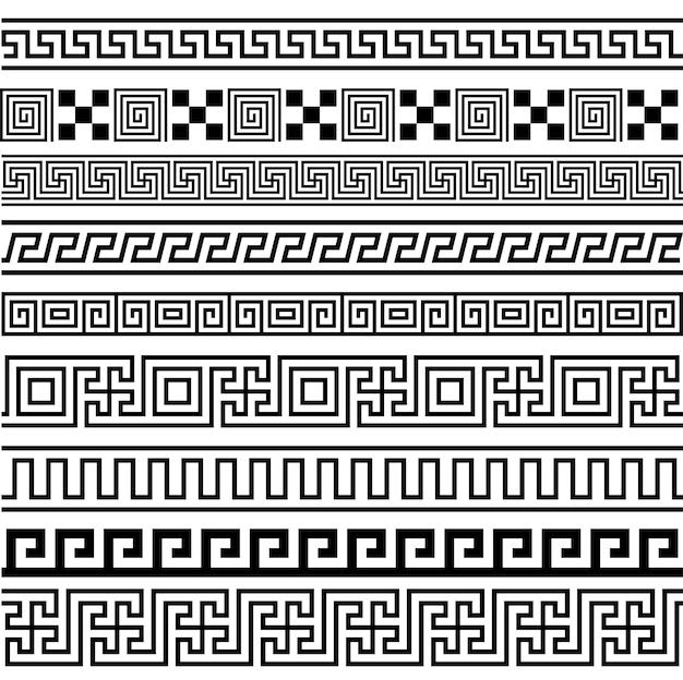 Ensemble de motifs de cadres de bordures sans soudure du grec ancien