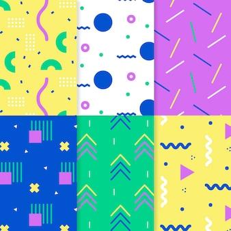 Ensemble de motifs colorés de memphis
