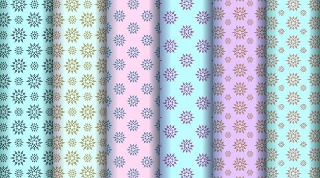 Ensemble de motifs colorés de style floral