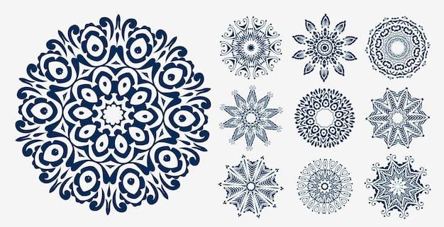 Ensemble de motifs de décoration mandala ethnique
