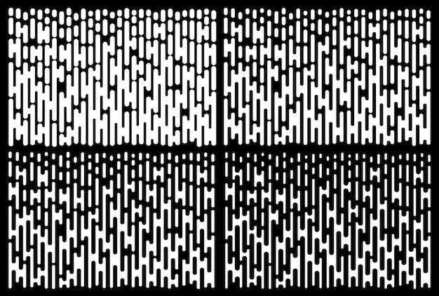 Ensemble de motifs de dégradé de lignes blanches. collection de texture de ligne de demi-teinte verticale