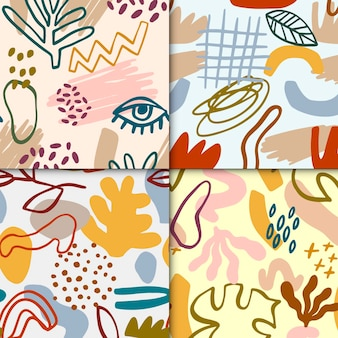 Ensemble de motifs dessinés abstraits