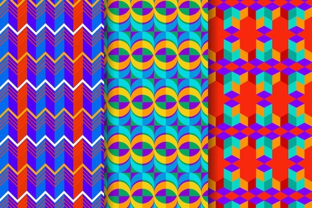 Ensemble de motifs dessinés géométriques colorés