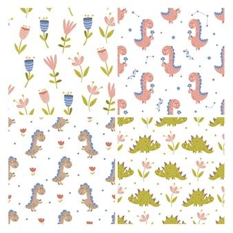 Ensemble de motifs de dinosaures et floraux. illustration vectorielle.