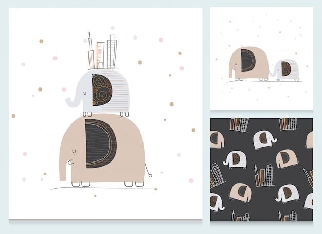 Ensemble de motifs d'éléphant plat de dessin animé mignon de collection