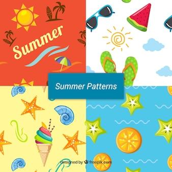 Ensemble de motifs d'été avec des éléments