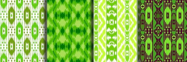 Ensemble de motifs ethniques sans couture vert pour les impressions textiles