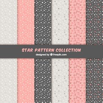 Ensemble de motifs d'étoile rose, blanc et noir