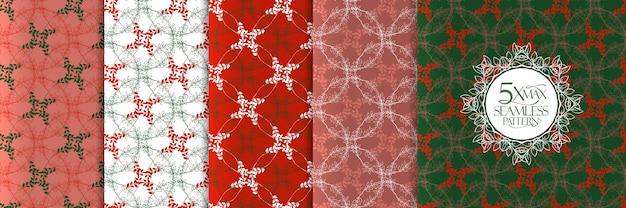 Ensemble de motifs de feuilles de noël, fond transparent avec cercles de guirlande et feuilles