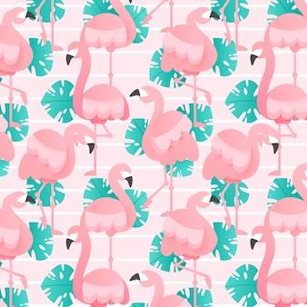 Ensemble de motifs flamants roses