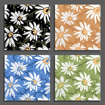 Ensemble de motifs de fleurs de camomille illustration vectorielle