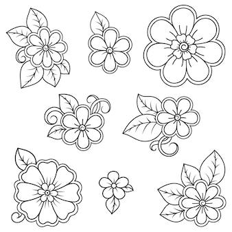Ensemble de motifs de fleurs mehndi pour le dessin et le tatouage au henné. décoration de style ethnique oriental, indien. ornement de griffonnage. décrire l'illustration vectorielle de tirage à la main.