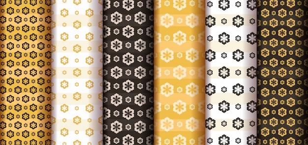 Ensemble de motifs de fleurs sans couture avec style abstrait