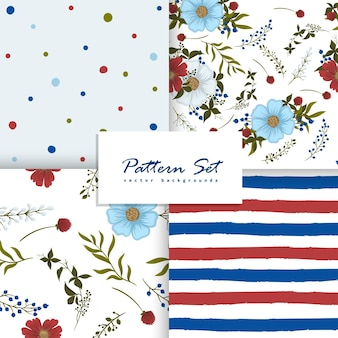 Ensemble de motifs floraux, pointillés et rayés sans couture.