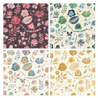 Ensemble de motifs floraux sans soudure. floral printemps été automne jardin fleurs botanique texture vintage pour papier peint textile, fond plat