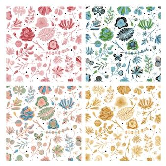 Ensemble de motifs floraux sans soudure. floral printemps été jardin fleurs colorées fleur botanique papier peint texture vintage, fond plat