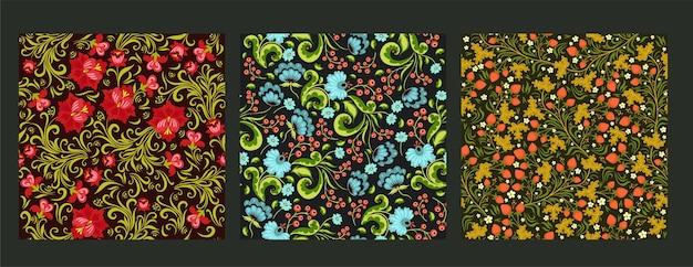 Ensemble de motifs floraux sans soudure.