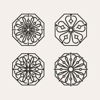 Ensemble de motifs floraux traditionnels coréens avec cadre géométrique hexagonal