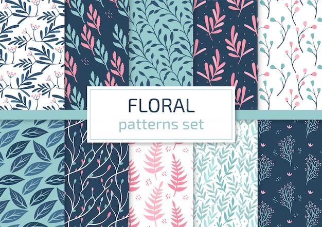 Ensemble de motifs floraux