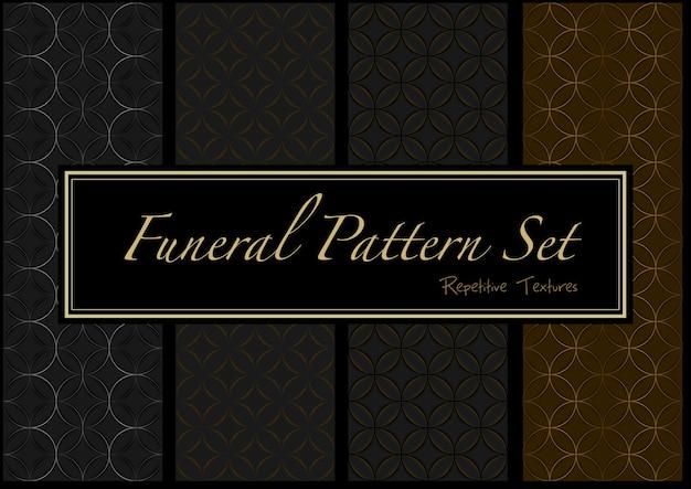 Ensemble de motifs funéraires sombres en couleurs or et noir