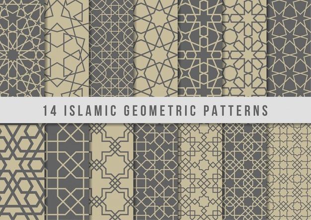 Ensemble de motifs géométriques islamiques