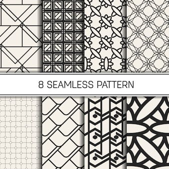 Ensemble de motifs géométriques monochromes.