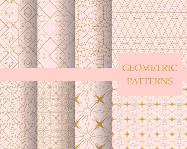 Ensemble de motifs géométriques pastel de luxe, papier peint décoratif