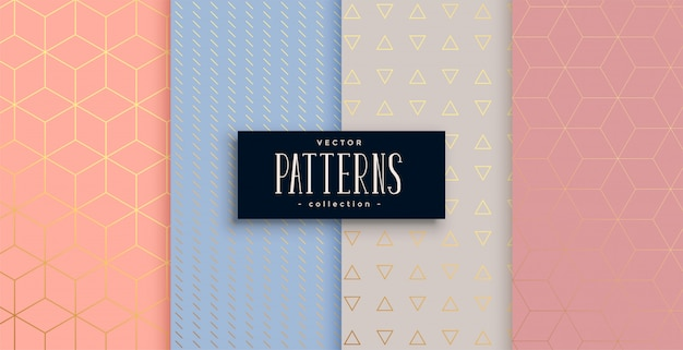 Ensemble de motifs géométriques pastel et or