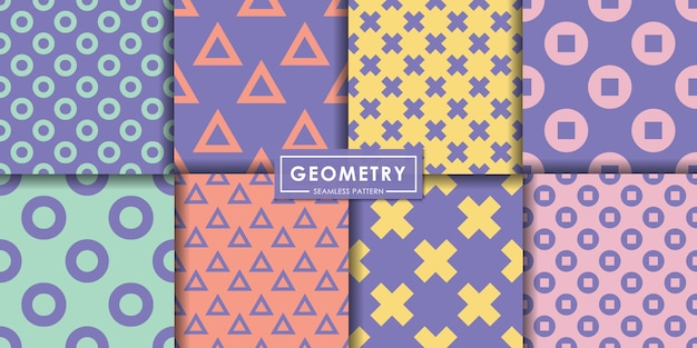 Ensemble de motifs géométriques pastel sans soudure, fond abstrait, papier peint décoratif.