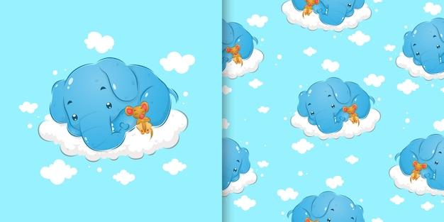 L'ensemble de motifs de griffonnage de l'éléphant endormi dormant à côté de la petite souris de l'illustration