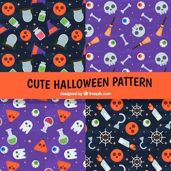 Ensemble de motifs d'halloween avec des accessoires en conception plate