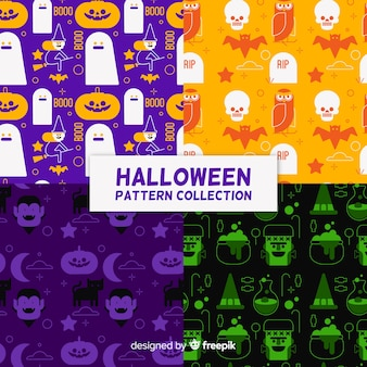 Ensemble de motifs d'halloween au design plat