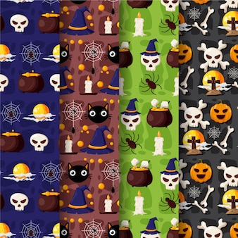 Ensemble de motifs halloween design plat