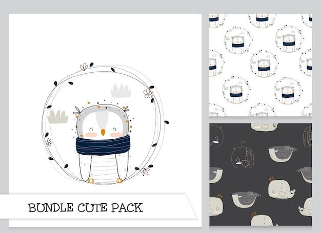 Ensemble de motifs de hibou plat mignon collection dessin animé
