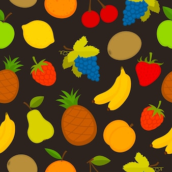 Ensemble de motifs d'illustration de fruits vectoriels, format eps 10