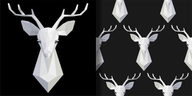 Ensemble de motifs imprimés et sans couture avec tête de cerf polygonale