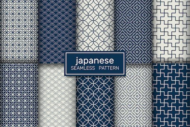 Ensemble de motifs japonais sans couture