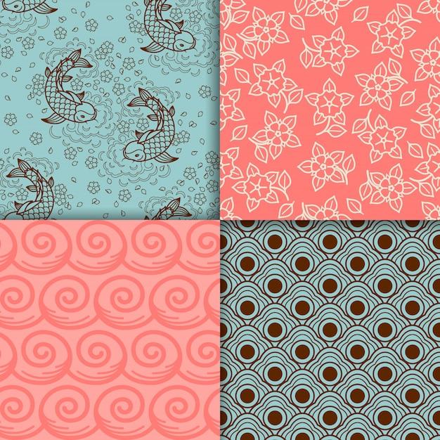 Ensemble de motifs japonais turquoise et rose