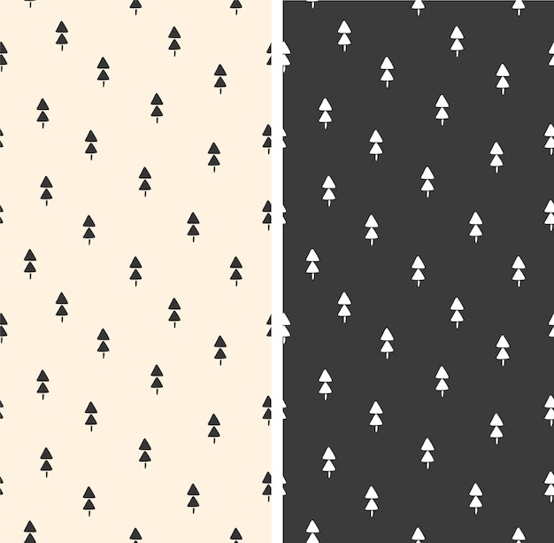 Ensemble de motifs de noël avec illustration vectorielle de sapins répétitifs