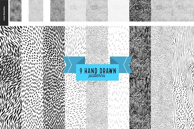 Ensemble de motifs noir et blanc dessinés à la main