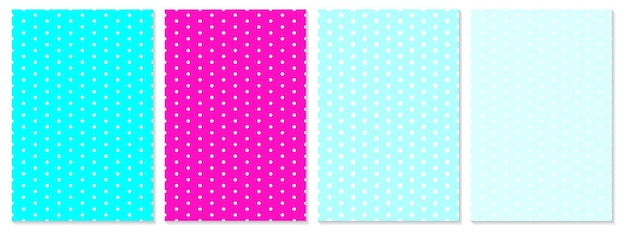 Ensemble de motifs de points. fond de bébé. couleurs bleues, roses. illustration vectorielle. motif à pois.