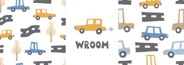 Ensemble de motifs pour enfants avec des voitures et des lettres sur une route de style scandinave