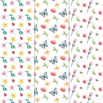 Ensemble de motifs de printemps aquarelle