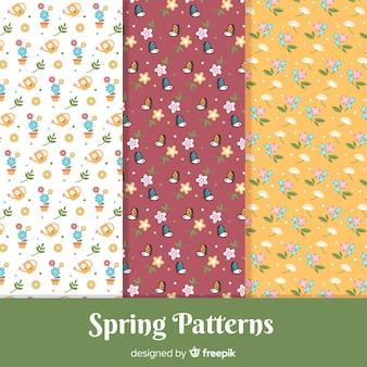 Ensemble de motifs de printemps de petits éléments