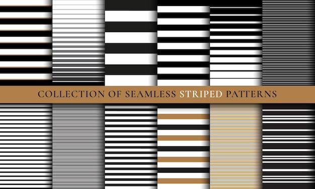 Ensemble de motifs rayés sans soudure, textures. vecteur