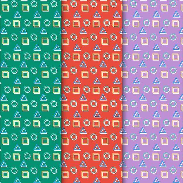 Ensemble de motifs rétro coloré
