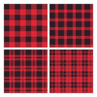 Ensemble de motifs sans couture à carreaux rouges et noirs